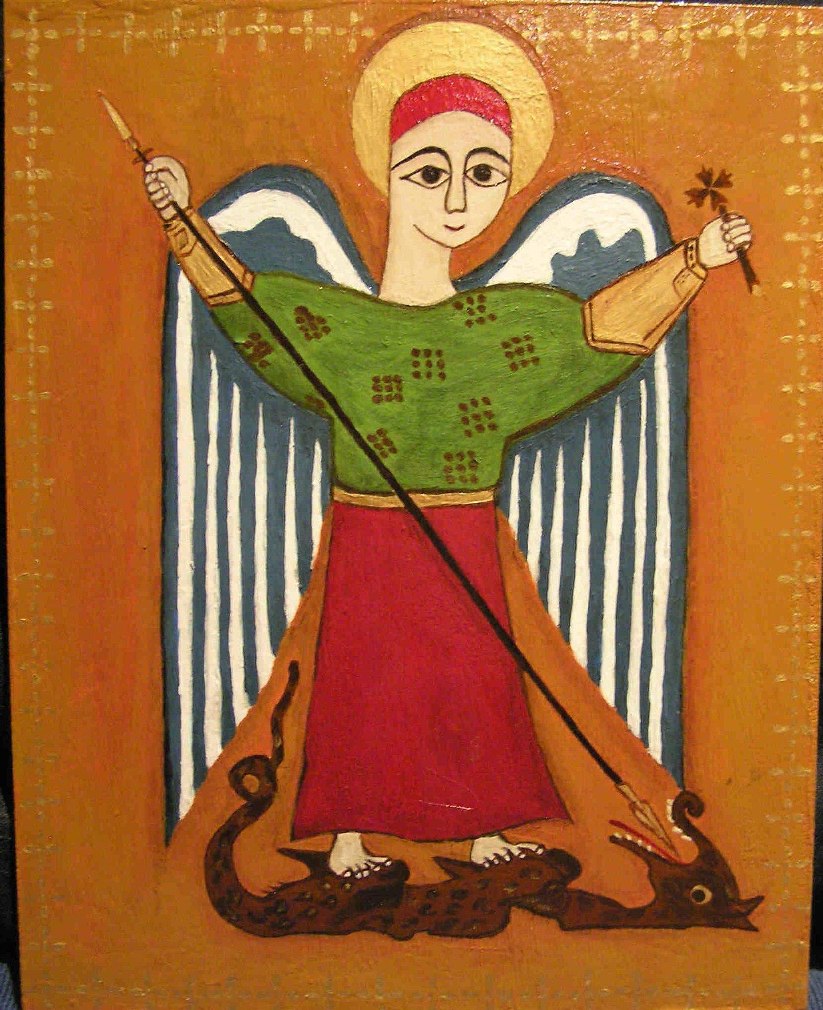 Copte Ikon représentant l'Archange Michael défaisant le dragon dans immagini sacre CopticAngel
